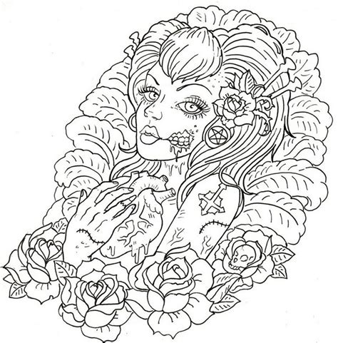 adult coloring page tattoos macabre tattoo 7