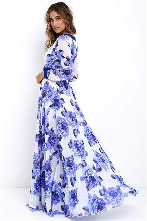 White Flower Dress Size M L 18677 stunning floral print dress blue maxi dress