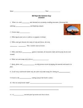 Bill Nye Erosion Worksheet by Bill Nye Erosion By Purplepanda Teachers Pay Teachers