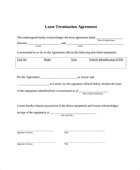 Termination Of Residential Lease Agreement Letter Lease Termination Form 10 Free Documents In Pdf Doc