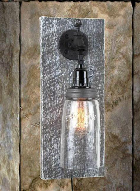 reclaimed barn wood mason jar wall sconce rustic