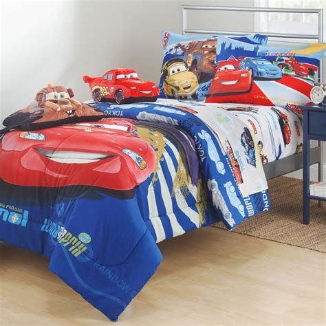 cars comforter new 4pc disney cars mcqueen full sheet set track burn