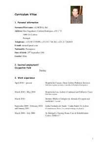 Curriculum Vitae For Nurses by Sample Curriculum Vitae For Nurses Nursing Curriculum