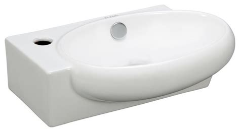 Modern Oval Bathroom Sinks Porcelain Wall Mounted Oval Right Facing Sink