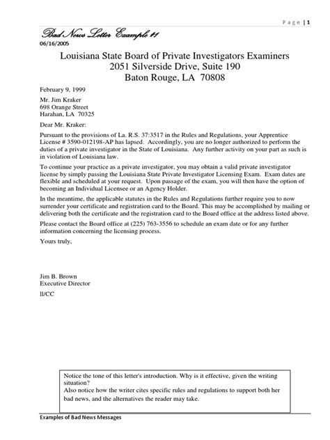 Business Letter Bad News exle business letter delivering bad news 28 images sle