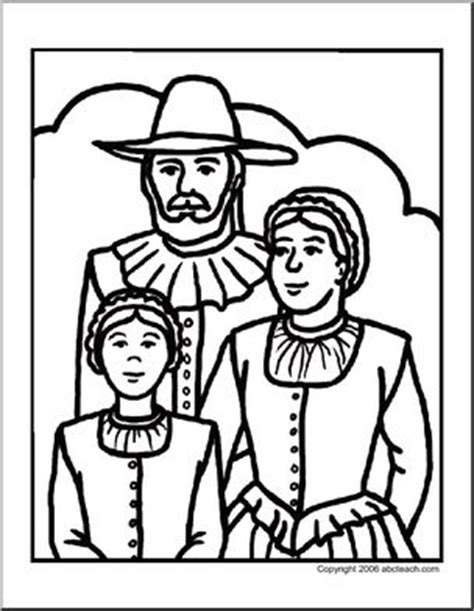 pilgrim family coloring page coloring page thanksgiving pilgrim family abcteach