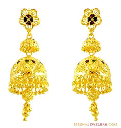 22k gold earrings designs 22k gold jhumka earring designs new style for 2016 2017