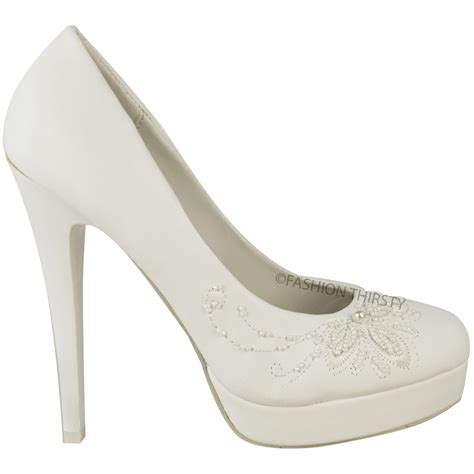 womens wedding bridal high heel white shoes