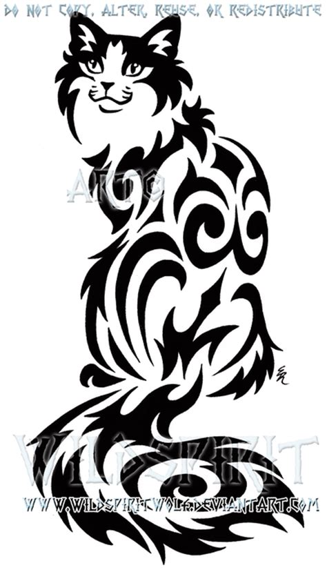 cat tribal tattoo designs sitting tribal cat design by wildspiritwolf on deviantart