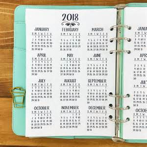 Calendar 2018 At A Glance A5 2017 2018 Year At Glance Printed Planner Insert Year In