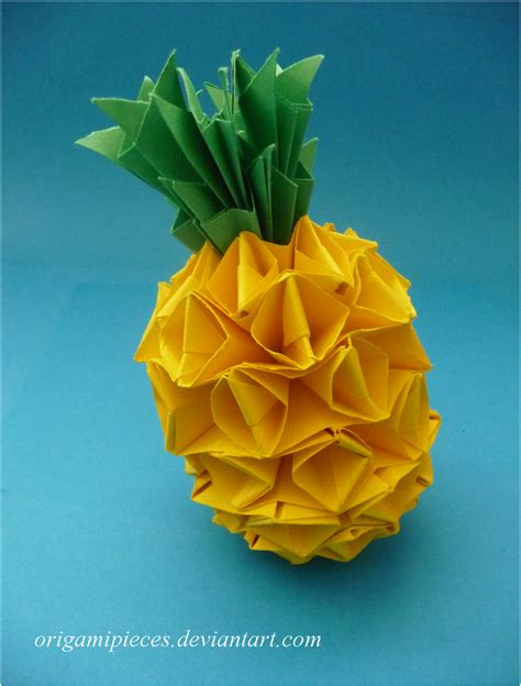 Paper Pineapple Craft - origami pineapple by origamipieces on deviantart