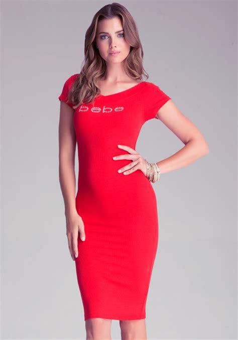 Dress Bebe Midi 1 bebe logo v neck midi dress in lyst