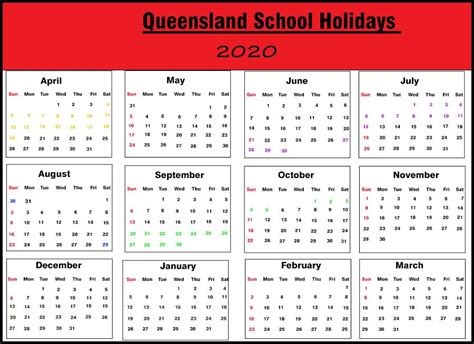 qld school holiday  printable template calendar