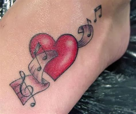 heart music tattoo designs notes and on foot