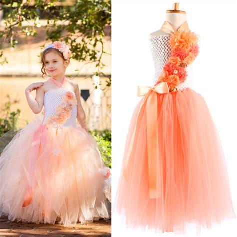 dressing for 34 yr old girls dress kids cloth orange crochet long flower tutu