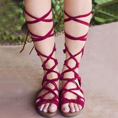 sandals with strings new 2017 shoes sandals lace up knee high boots