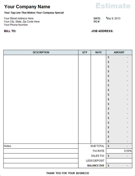 bill estimate template free contractor estimate template on excel
