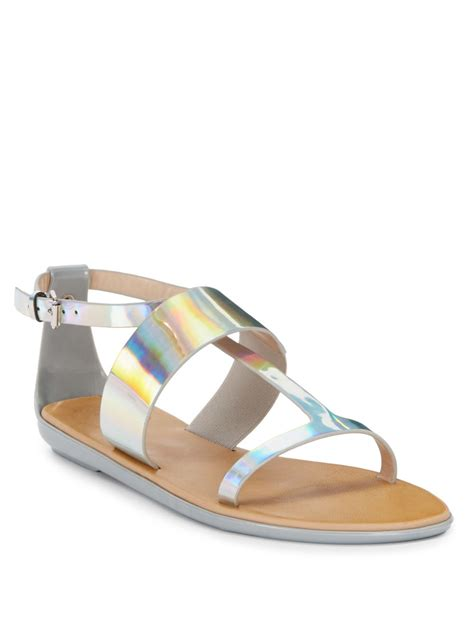 Connexion Flat Shoes connection tamara iridescent flat sandals in silver