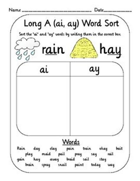 spelling pattern in words with long a sound vowel digraph teams word sort set oi oy ai ay ou ow