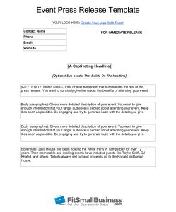 press release template for event event press release template image collections free