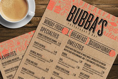 one page layout menu links bubba s breakfast menu on behance