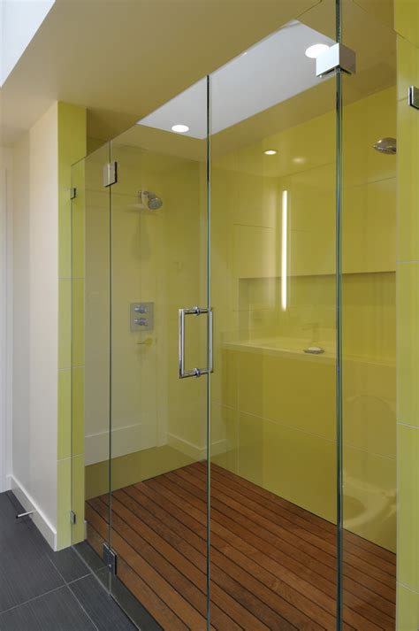 teak shower floor Bathroom Contemporary with glass shower