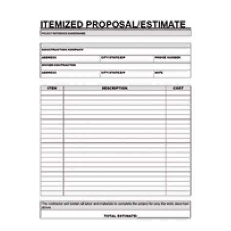 printable estimate template free printable contractor forms home