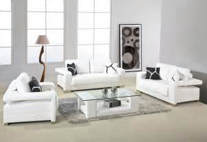 Sofa Set Designs For Small Living Room White Leather Sofa With Arms And Glass Top Table For Small Living Room Design With Gray Fur Rug