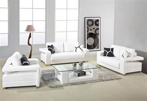 Sitting Room Furniture by White Leather Sofa With Arms And Glass Top Table For Small