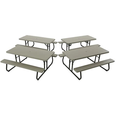 Lifetime Folding Picnic Table Lifetime 42119 Putty Plastic 6 Folding Picnic Table On Sale With Fast Free Shipping 60228