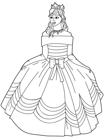 princess gown coloring pages princess in ball gown off the shoulder dress coloring page
