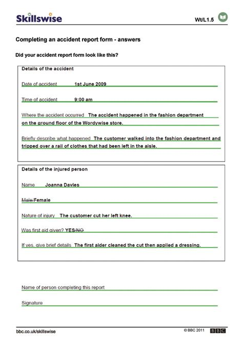 completing an report form