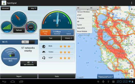test rete wifi opensignal wifi map speedtest screenshot