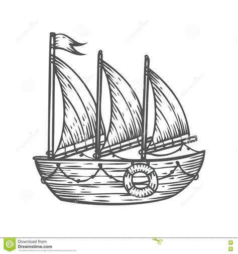 ship boat sailboat hand drawn engraving sketch vector