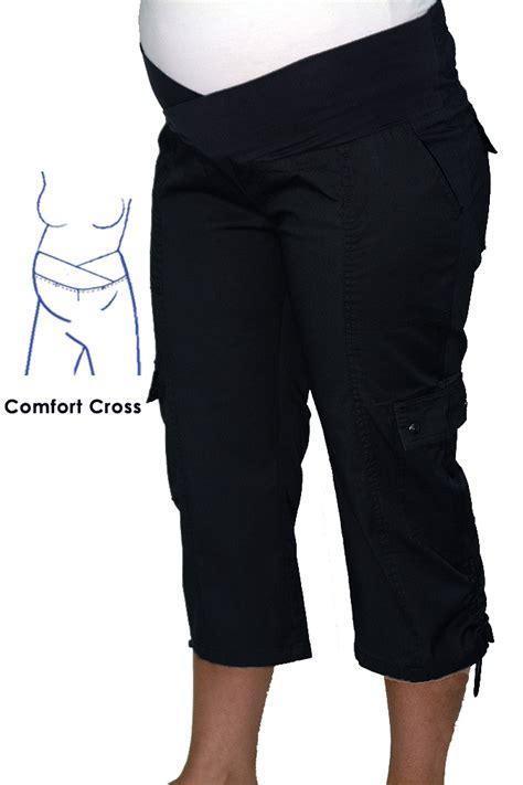 comfort waist cargo pants maternity 3 4 cargo pants comfort cross waist in black