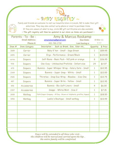 baby shower gift list template best photos of baby shower gift list template baby