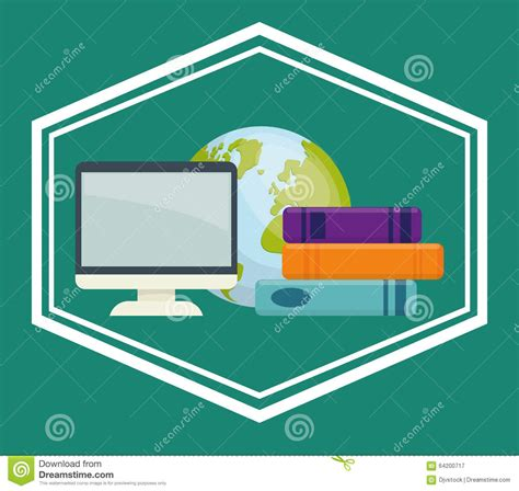 graphics design learning books book and e learning icons design stock vector image