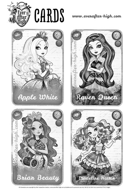Ever After High Coloring Pages Cards | ever after high character cards coloring pages ever