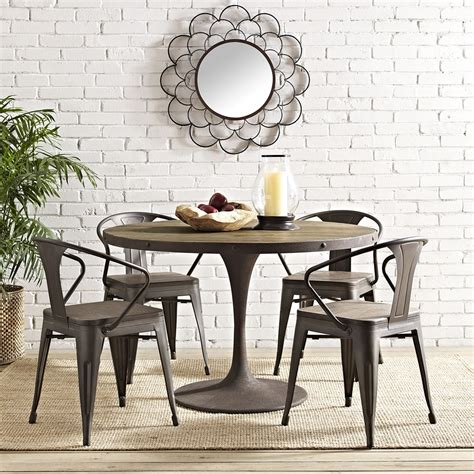 drive table drive 48 quot dining table wood top brown dcg stores
