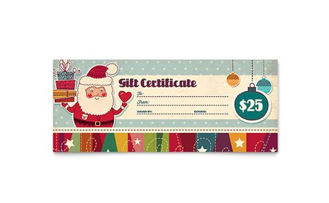 gift certificate template publisher retro santa gift certificate template word publisher