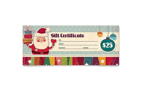 Retro Santa Gift Certificate Template Design