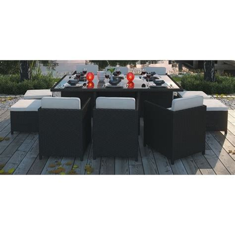 modway reversal 11 outdoor dining set in espresso