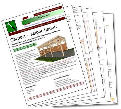 bauanleitung carport pdf einzel carport mit flachdach