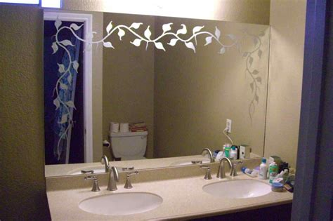 Etched Bathroom Mirrors Etched Glass Bathroom Mirror Sans Soucie Glass