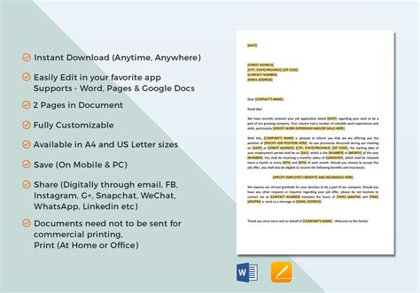 apple pages business letter templates employment offer letter template in word docs