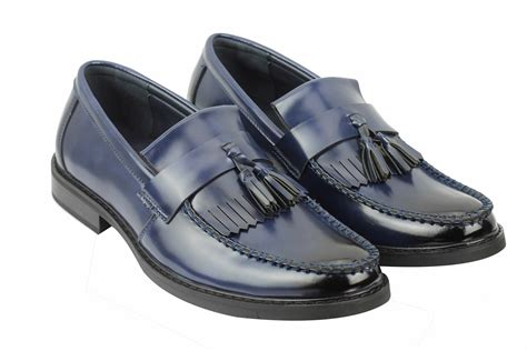 vintage leather loafers mens vintage style polished faux leather tassel loafers
