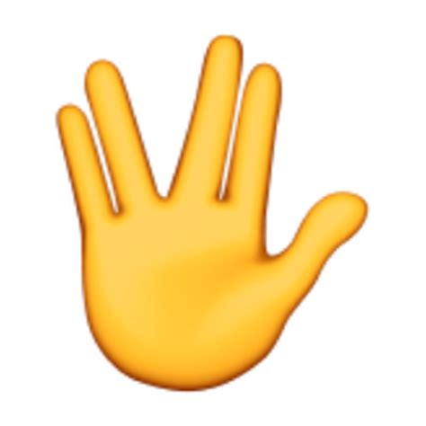 emoji finger raised hand with part between middle and ring fingers