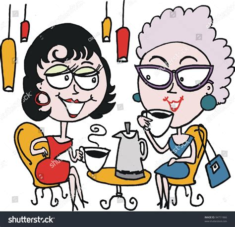 Vector Cartoon Two Women Drinking Coffee Stock Vector 94711966   Shutterstock