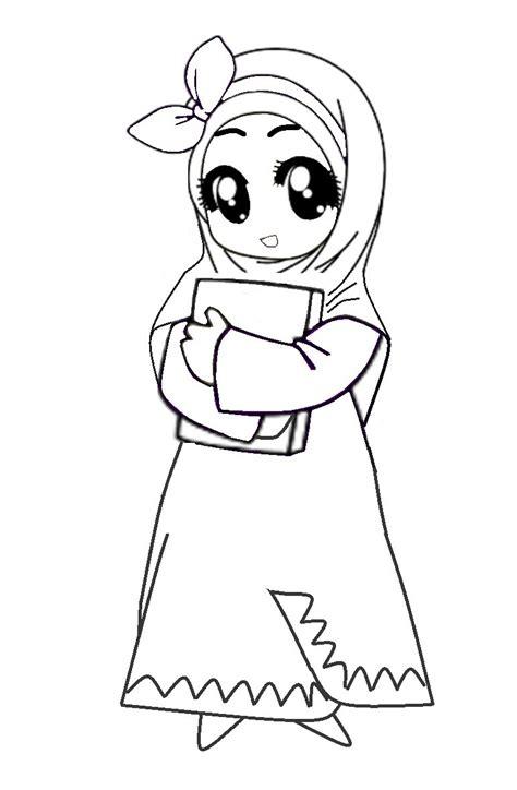 gambar kartun islami hitam putih top gambar