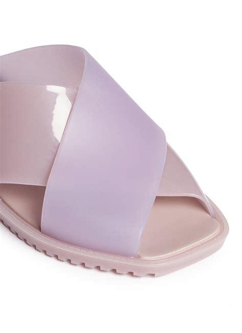 lyst sauce colourblock pvc slide sandals in pink